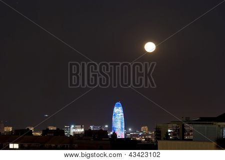 Agbar Tower At Night With Moon, Barcelona