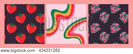 Set Of Vector Psychedelic Illustrations.seamless Pattern, Hand-drawn, Cartoon. Strawberry, Face, Rai