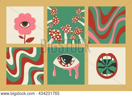 Hand-drawn Abstract Shapes. Large Set Of Multicolored Vector Illustrations. Cartoon, Psychedelic Sty