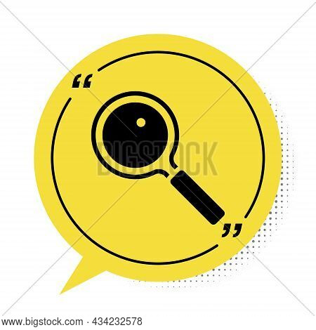 Black Magnifying Glass Icon Isolated On White Background. Search, Focus, Zoom, Business Symbol. Yell