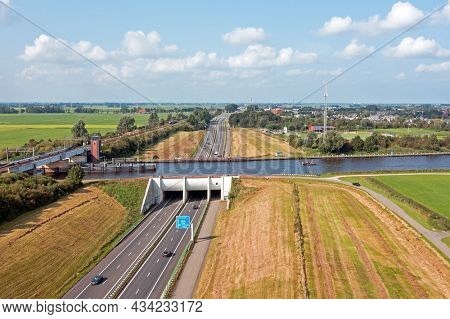 Aerial from Aquaduct Mid Fryslan in Friesland the Netherlands