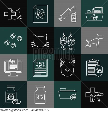 Set Line Veterinary Clinic, Clinical Record Pet, Dog Pooping, Syringe With Vaccine, Cat, Paw Print,