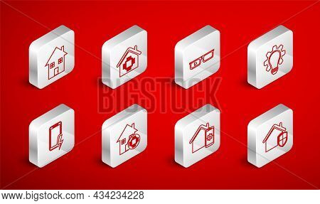 Set Line House Under Protection, Smart Home, Glasses, Light Bulb And Gear, Remote Control System, An