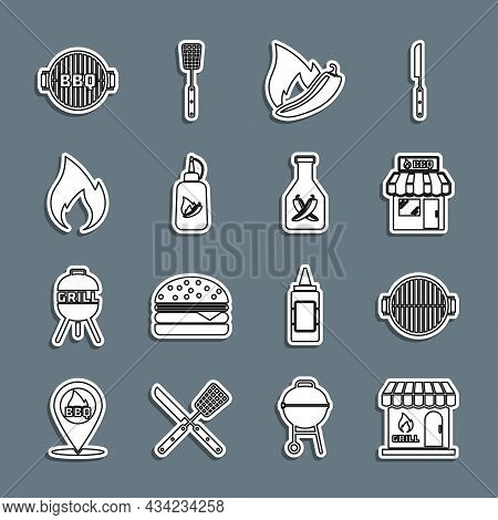 Set Line Barbecue Shopping Building, Grill, Hot Chili Pepper Pod, Ketchup Bottle, Fire Flame, And Ic
