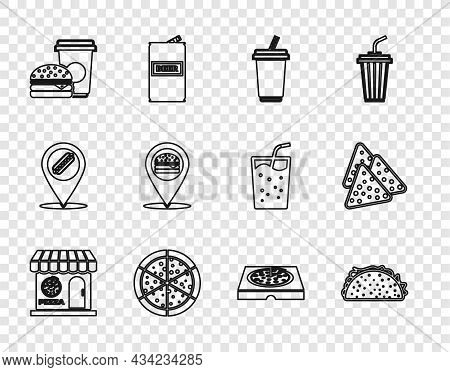 Set Line Pizzeria Building Facade, Taco With Tortilla, Glass Water, Pizza, Coffee And Burger, Locati