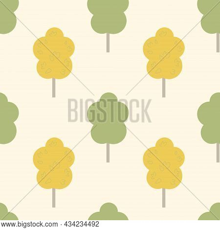 Autumn Seamless Pattern, Yellow Green Deciduous Tree, Vector Illustration For Textile And Wrapping P