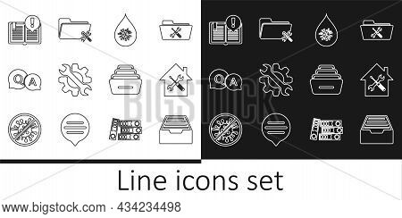 Set Line Drawer With Documents, House Service, Dirty Water Drop, Wrench And Gear, Question Answer, I