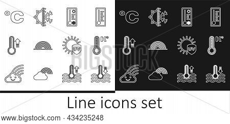 Set Line Water Thermometer, Meteorology, Rainbow, Celsius, Uv Protection And Sun And Snowflake Icon.