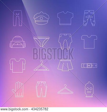Set Line Balaclava, Leather Belt, T-shirt, Men Underpants, Sport Bag, Pants And Icon. Vector