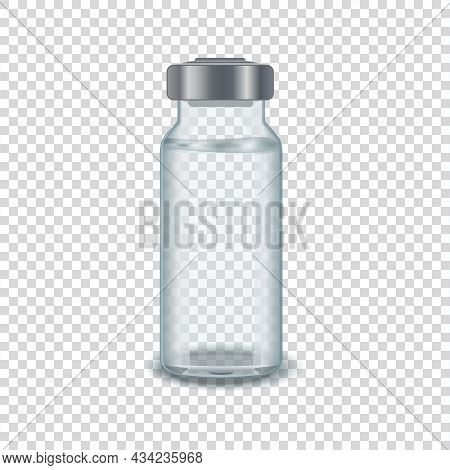 Transparent Glass Vial Of Injection Solution. Vaccine And Vaccination Against Coronavirus, Flu. Cosm