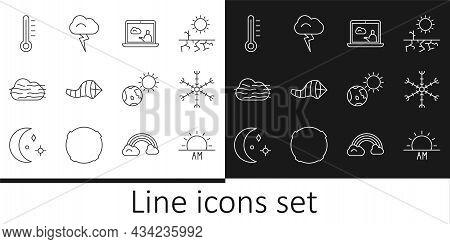 Set Line Sunrise, Snowflake, Weather Forecast, Cone Meteorology Windsock Wind Vane, Fog And Cloud, M