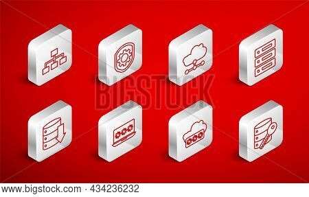 Set Line Server Security With Key, Shield Settings Gear, Network Cloud Connection, Server, Data, Web
