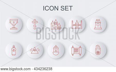 Set Line Jainism Or Jain Dharma, Monk, Church Building, Decree, Paper, Parchment, Scroll, Christian