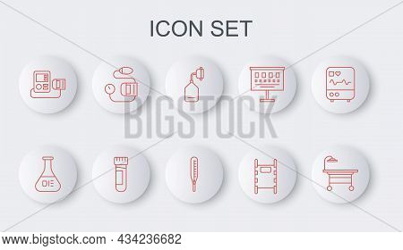 Set Line Operating Table, Test Tube And Flask, Medical Oxygen Mask, Stretcher, Blood Pressure, With