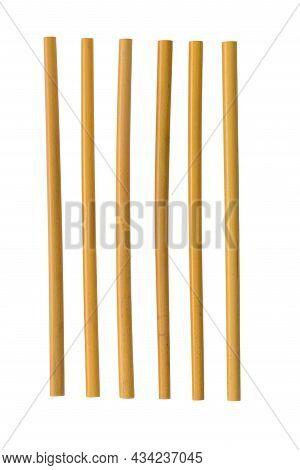 Six Bamboo Straws Isolated On White Background.