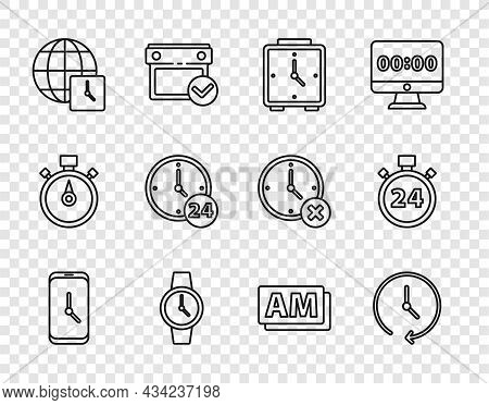 Set Line Alarm Clock App Mobile, Clock, Wrist Watch, World Time, 24 Hours, Am And Stopwatch Icon. Ve