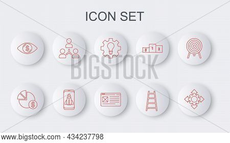 Set Line Project Team Base, Pie Chart And Dollar, Light Bulb Gear, Stair With Finish Flag, Eye, Star