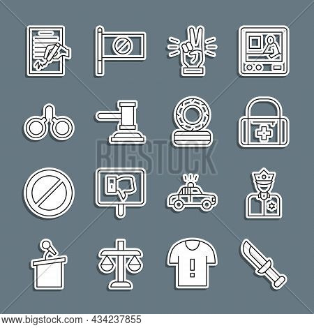 Set Line Military Knife, Police Officer, First Aid Kit, Hand Showing Two Finger, Judge Gavel, Handcu