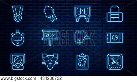 Set Line Monitor With Baseball Game, Baseball Ticket, Mechanical Scoreboard, Planning Strategy, Stop