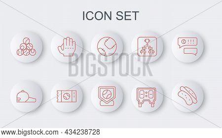 Set Line Hotdog Sandwich, Baseball Cap, Mechanical Scoreboard, Glove, Ticket And Base Icon. Vector