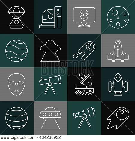 Set Line Comet Falling Down Fast, Rocket Ship, Alien, Ufo Flying Spaceship, Planet, Space Capsule An