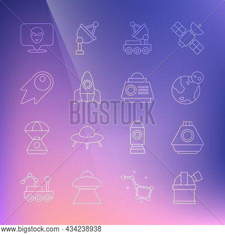 Set Line Astronomical Observatory, Space Capsule, Earth Globe, Mars Rover, Rocket Ship, Comet Fallin