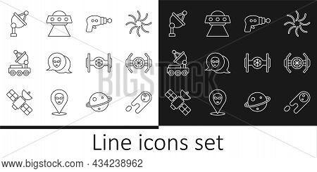 Set Line Comet Falling Down Fast, Cosmic Ship, Ray Gun, Alien, Mars Rover, Satellite Dish, And Ufo F