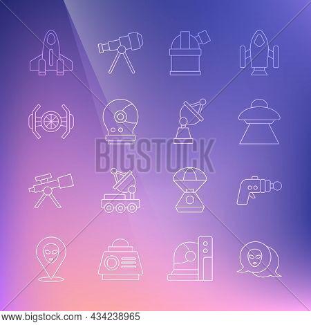 Set Line Alien, Ray Gun, Ufo Flying Spaceship, Astronomical Observatory, Astronaut Helmet, Cosmic, R