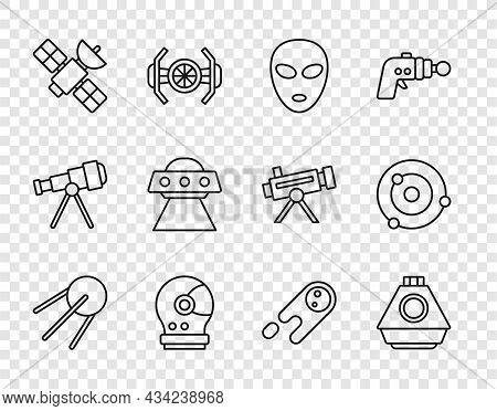 Set Line Satellite, Space Capsule, Alien, Astronaut Helmet, Ufo Flying Spaceship, Comet Falling Down