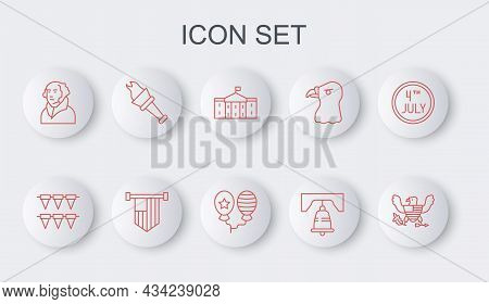 Set Line Eagle, Carnival Garland With Flags, United States Capitol Congress, Liberty Bell In Philade