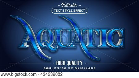 Editable Text Style Effect - Aquatic Text Style Theme. Graphic Design Element.