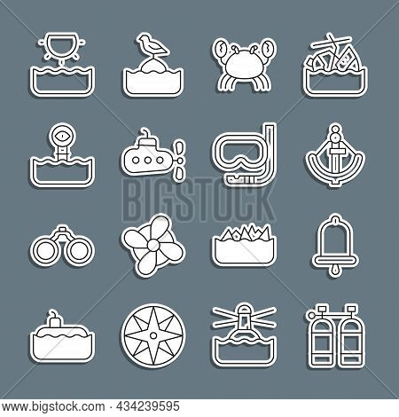 Set Line Aqualung, Ship Bell, Anchor, Crab, Submarine, Periscope, Sun And Diving Mask And Snorkel Ic
