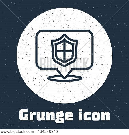 Grunge Line Location Shield Icon Isolated On Grey Background. Insurance Concept. Guard Sign. Securit