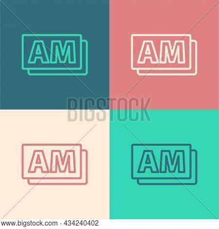 Pop Art Line Clock Am Icon Isolated On Color Background. Time Symbol. Vector