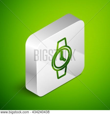 Isometric Line Wrist Watch Icon Isolated On Green Background. Wristwatch Icon. Silver Square Button.