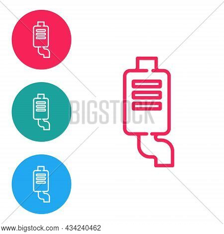 Red Line Car Muffler Icon Isolated On White Background. Exhaust Pipe. Set Icons In Circle Buttons. V