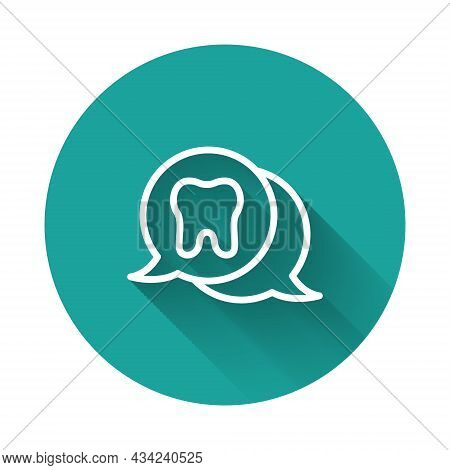 White Line Tooth Icon Isolated With Long Shadow. Tooth Symbol For Dentistry Clinic Or Dentist Medica