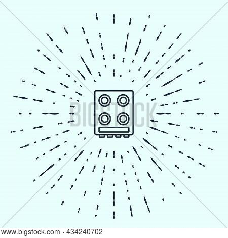 Black Line Gas Stove Icon Isolated On Grey Background. Cooktop Sign. Hob With Four Circle Burners. A