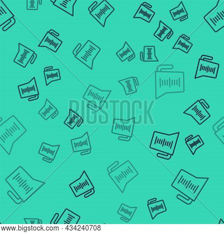 Black Line Measuring Cup To Measure Dry And Liquid Food Icon Isolated Seamless Pattern On Green Back