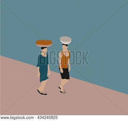 Two People Carries A Basket Of Things On His Head On Street. Vector Portrait Of Two African.