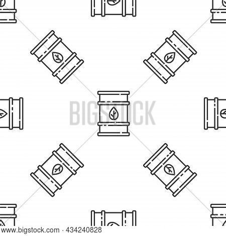 Grey Line Bio Fuel Barrel Icon Isolated Seamless Pattern On White Background. Eco Bio And Canister.