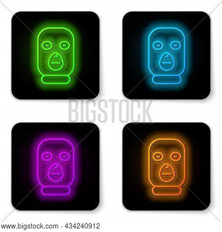 Glowing Neon Line Thief Mask Icon Isolated On White Background. Bandit Mask, Criminal Man. Black Squ