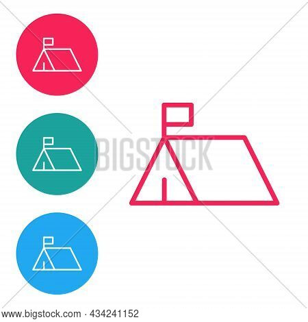 Red Line Protest Camp Icon Isolated On White Background. Protesting Tent. Set Icons In Circle Button
