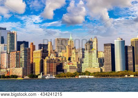 Panoramic View Of Manhattan Cityscape In New York City At Sunset, Ny, Usa