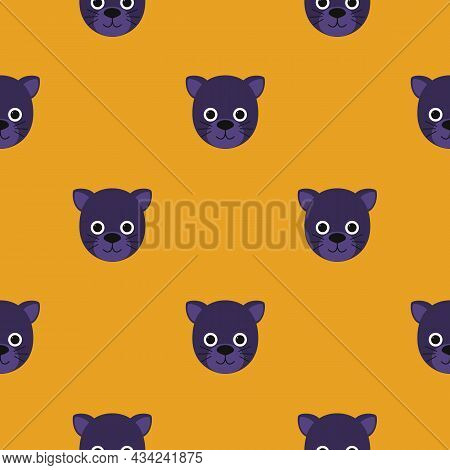 Childish Pattern Of A Cute Little Panther. Jungle Animal. Cartoon Character For Kids Print Design, K