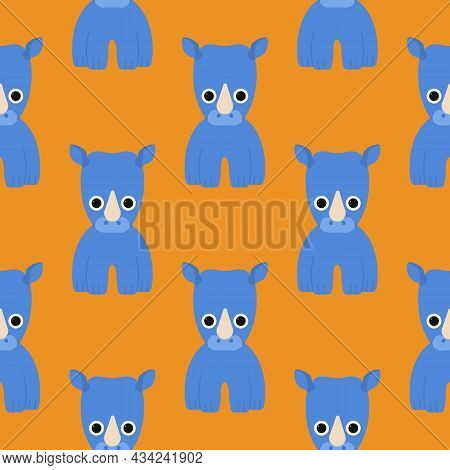 Cute Rhino Pattern Isolated On A Colored Background. Simple Illustrations For A Childrens Book. Afri