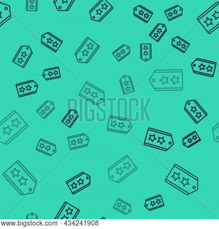 Black Line Military Rank Icon Isolated Seamless Pattern On Green Background. Military Badge Sign. Ve