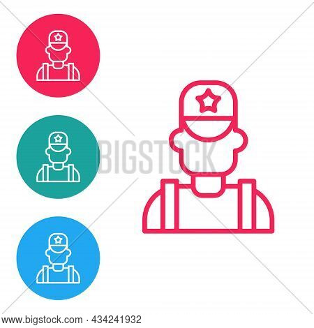 Red Line Sheriff Cowboy Hat With Star Badge Icon Isolated On White Background. Police Officer. Set I