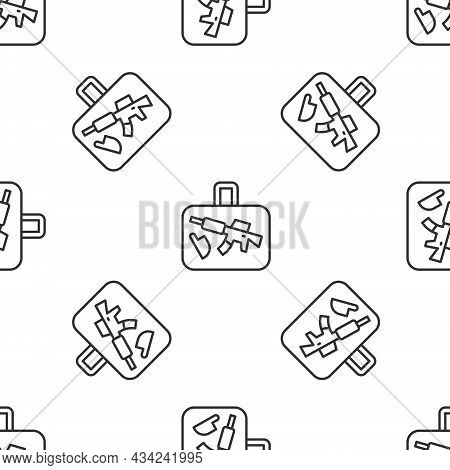 Grey Line Suitcase For Travel Icon Isolated Seamless Pattern On White Background. Traveling Baggage
