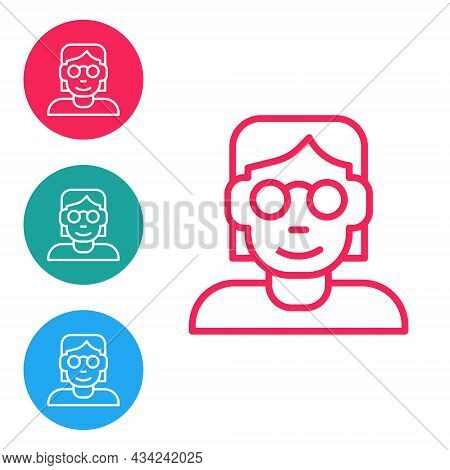 Red Line Hacker Or Coder Icon Isolated On White Background. Programmer Developer Working On Code, Co